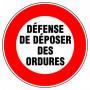 Disque d'interdiction - 'Défense de déposer des ordures'